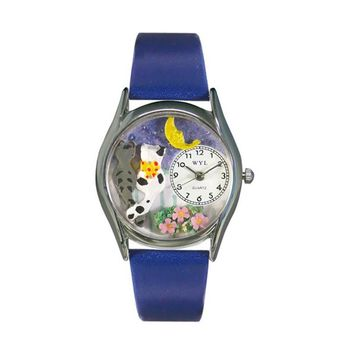 Cats Night Out Royal Blue Leather And Silvertone Watch