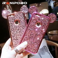 Luxury Rhinestone Glitter Bling 3D mouse ear Phone Case for iPhone 7 7 Plus 5 5S SE 6 6S Plus Soft Silicone plating Back Cover