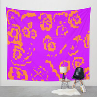 Orange Purple Wall Tapestry Orange Purple Wall Hanging Floral Abstract Wall Tapestry Purple Orange Pattern Wall Tapestry Orange Purple Print
