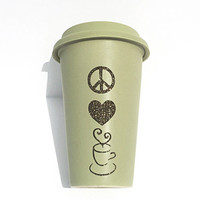 Peace Love Coffee Glitter Coffee Mug - To Go Coffee Cup - Travel Coffee Mug - Peace Sign - Heart - Coffee Cup