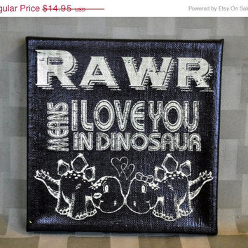 Luck O the Irish Sale Rawr means I Love you - Cute Dino Canvas  - Expressive Art on Canvas wall decor for Dorm, Bedroom, Kitchen, Bathroom
