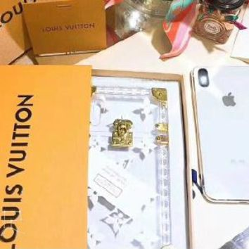Louis Vuitton iphone Case Transparent Candy Crystal Phone Case  For iphone 6 6s 6plus 6s-plus 7 7plus 8 8plus X B/A White