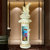 European style water fountain decoration living room fish tank lucky Feng Shui fish pond indoor humidifier landing large ornamen