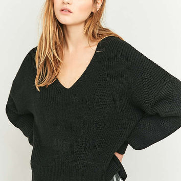 BDG Fisherman Black V-Neck Jumper - Urban Outfitters