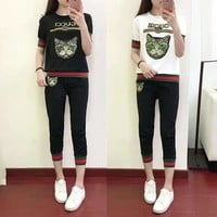 """Gucci"" Women Casual Fashion Multicolor Stripe Sequin Cat Head Embroidery Short Sleeve Trousers Set Two-Piece Sportswear"