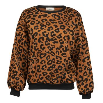 Wild One Leopard Print Sweater with Balloon Sleeves