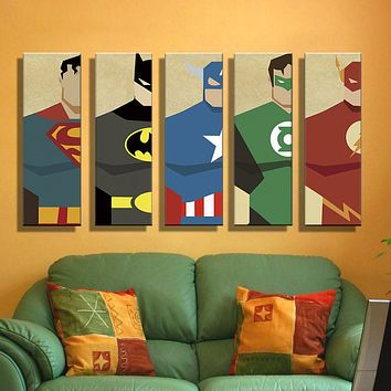 5 Panels Print Painting Canvas Super Hero Superman Batman Cartoon Home Decor Modern Wall Pictures For Living Room Unframed