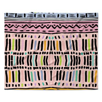 "Vasare Nar ""Native Pastel"" Multicolor Pastel Fleece Throw Blanket"