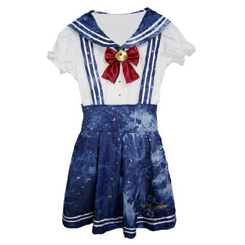 Sailor Moon Embroidery Gold Stamping School Uniform Strap Dress SP140944