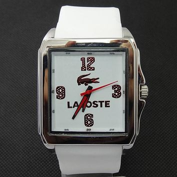 Lacoste tide brand fashion men and women stylish exquisite watches F-SBHY-WSL White + silver case + red number dial