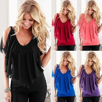 Women's V Neck Cold Shoulder Blouse Summer Chiffon Loose Casual T-shirt Tops US