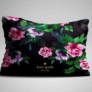 "Pink Floral Kate Spade Custom Zippered Pillow Case 16""x 24"" - Two sides cover"