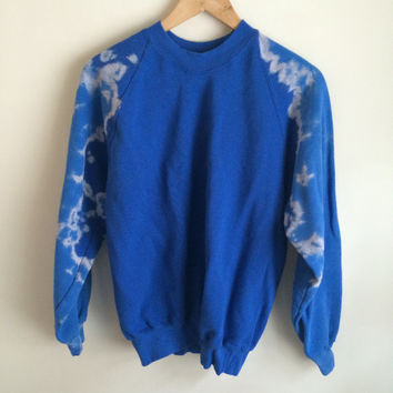 Tie Dye Bleached Sleeves Royal Blue Sweatshirt Jumper