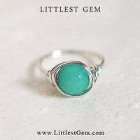 Ocean Green Gemstone Ring - wire wrapped jewelry handmade - wire wrapped ring - unique rings - custom