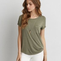 AEO Soft & Sexy Plush Pocket T-Shirt , Olive | American Eagle Outfitters