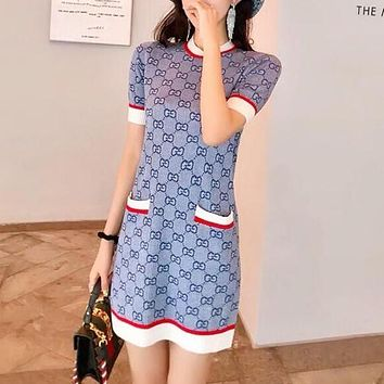 """Gucci"" Temperament Fashion Retro Multicolor GG Letter Short Sleeve Knit Mini Dress"