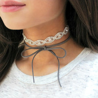 Grey Choker, Rhinestone Choker, Suede Choker, Sparkly Necklace, Bow Necklace, Sparkly Choker, Choker, Ready To Ship, THIRTEEN SUEDE COLORS