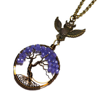 Owl Totem Purple Jade Tree of Life Pendant Gemstone Wire Wrapped Pendant Bronze and Purple Metaphysical Crystal Celtic Tree Yggdrasil Moon