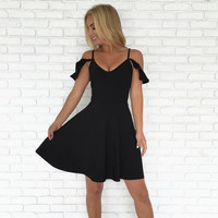 Give It A Go Skater Dress In Black