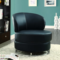 "Grey ""Circular"" Fabric Accent Chair and Ottoman"