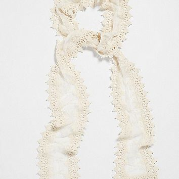 skinny scarf with embroidered mesh and crocheted edges | maurices