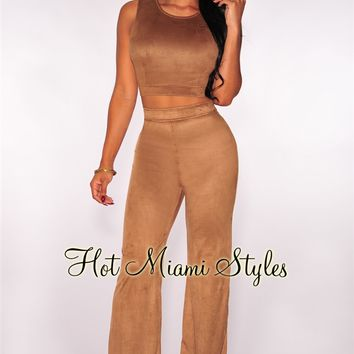 Mocha Faux Suede Two Piece Set
