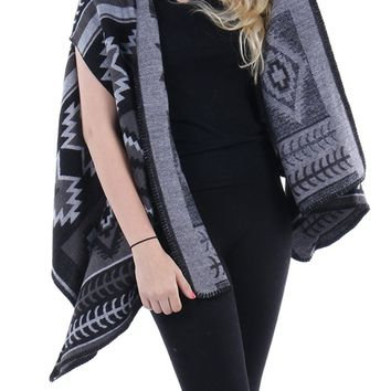 Black Aztec Pattern Shawl Vest