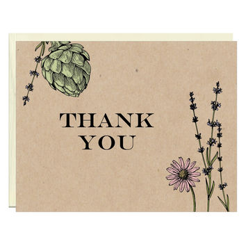 Botanical Thank You Note Card 5 pack