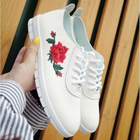 Floral Rose Flats Moccasins Comfort Shoes