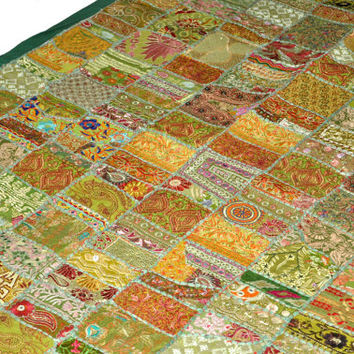 "60x20"" Vintage Tapestry Antique Indian Handmade Embroidered Patchwork bohemian tribal ethnic Wall Hanging wall art wall decor table runner"