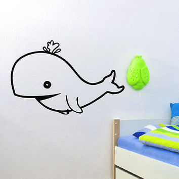 WALL DECAL VINYL STICKER ANIMAL WHALE SEA OCEAN BABY ROOM NURSERY DECOR SB402