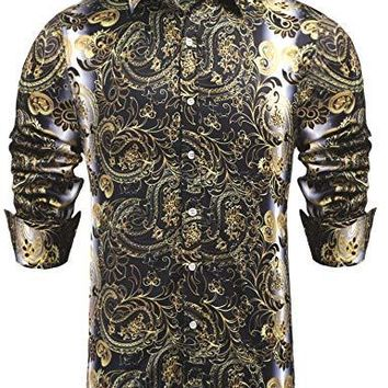 Daupanzees Mens Paisley Fashion Long Sleeve Street Wear Designer Polyester African Dashiki Luxury Print Button Up Casual Shirts (Gold M)