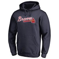 Atlanta Braves MLB Navy Fastball Fleece Pullover Hoodie