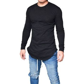 DCCKON3 men slim fit o neck long sleeve muscle tee t shirt casual tops blouse 1