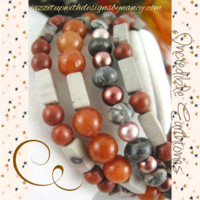 Bracelet Beaded Bangle Red Agate Tree Agate Brown Aventurine Dolomite