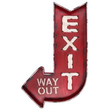 Distressed Red Exit - Way Out Metal Wall Decor | Hobby Lobby
