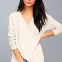Macalister Light Beige Chenille Wrap Sweater