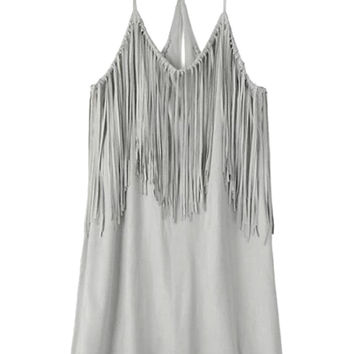 Grey Spaghetti Strap Tassel Trim Neckline Mini Dress