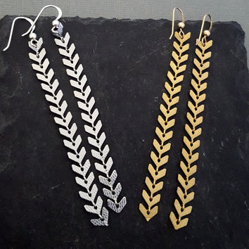 Long Linear Chevron Chain Earrings, Long Gold Minimalist Simple Chain Earrings, Long Silver Arrowhead Chain Earrings Spear Boho Chic