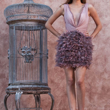 Purple deep V neck cocktail dresses short feather dress with covered buttons above knee length cocktailkleider CPCD01