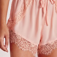 Missguided - Lace Hem Runner Shorts Nude