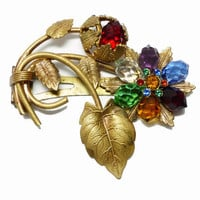 Art Nouveau Flower Dress Clip - Faceted Multi Colored Rhinestones in a Large Brass Setting