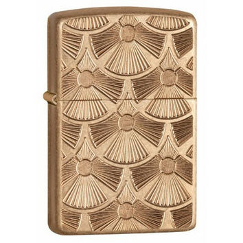 Zippo 28541 Fanned Discs Tumbled Brass Armor Windproof Lighter