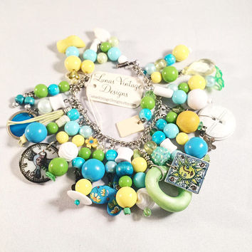 Hand Designed Charm Bracelet, Yellow, Green, Turquoise, OOAK, Vintage Assemblage, Vintage Jewelry, Vintage Buttons