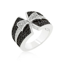 Jet Black And Clear Cubic Zirconia Bow Tie Ring, size : 05