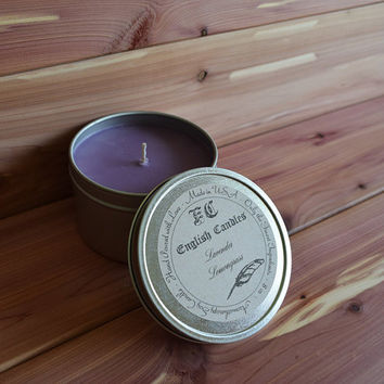 Lavender and Lemongrass - Aromatherapy Soy Candle - Revitalizing Aroma - Hand Poured -  8 oz Tin Container - Baby/Bridal Shower Favor - Gift
