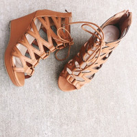 Tan Lace Up Wedge