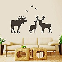 Wall Decal Vinyl Sticker Decals Art Decor Design Elk Deer Family Birds Hunting Horns Animal Gift for Man Bedroom Modern Dorm Office(r1023)