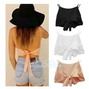 2015  New Fashion  Hot Sale Sexy Women Sleeveless Backless Camisole Shirt Summer Casual Blouse Crop Tops = 1956719812