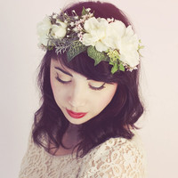 Woodland Forest White Rose Flower Crown